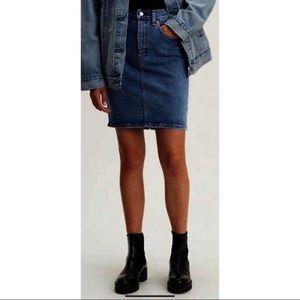 Vintage Levi's Denim Skirt Midi Jeans Red Tab